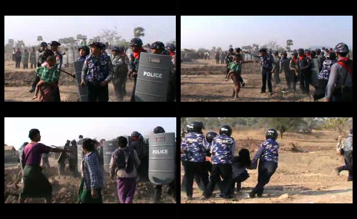 Le 7 mars 2014, des policiers et 2 bulldozers sont venus raser des arbres et terres du village Ohn Thone Pin