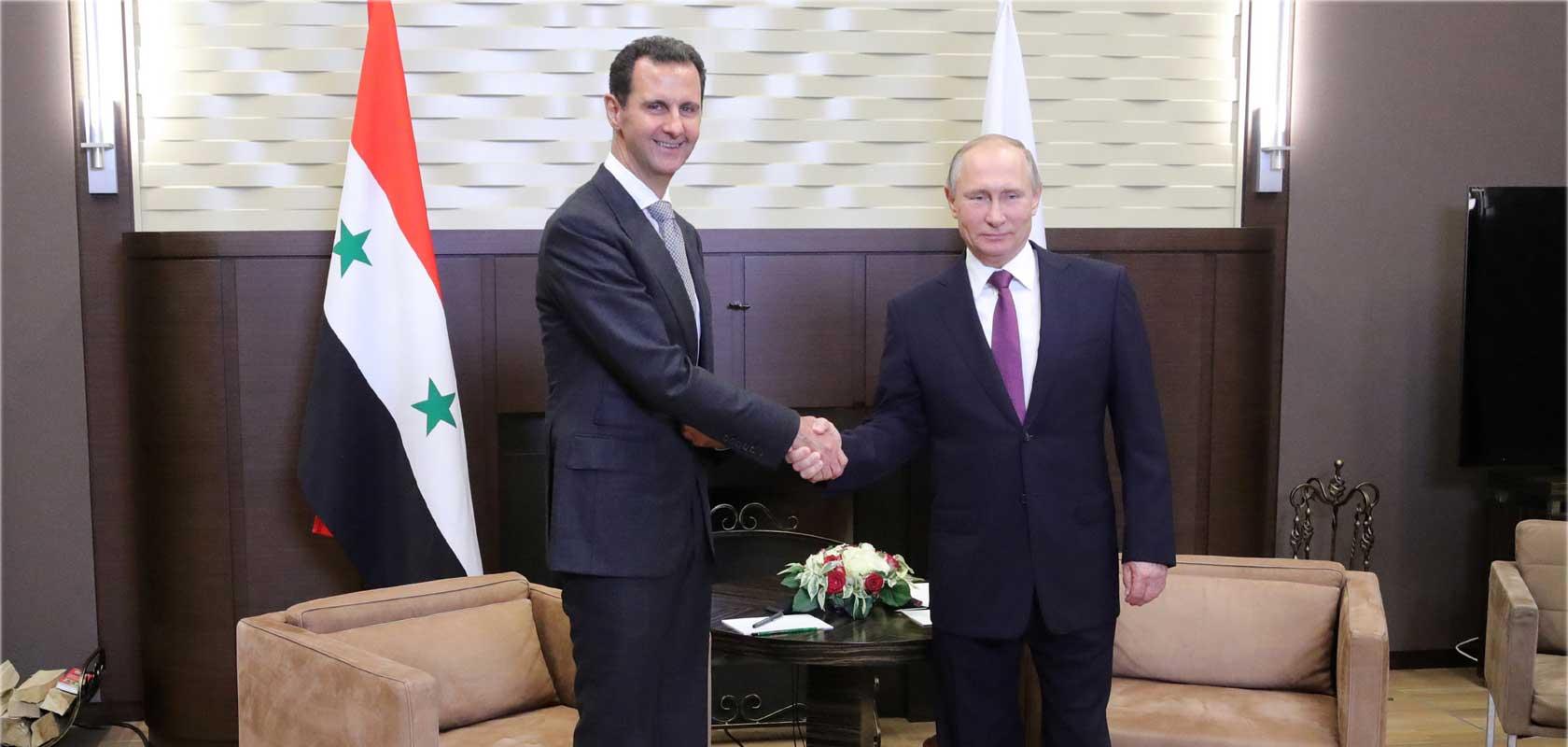 Les présidents Syrien et Russe lors d'une rencontre à Sotchi 21/11/2017